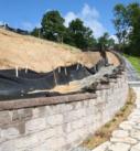 retaining walls on steel hill near lake