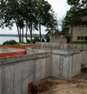 foundation for new lakefront home