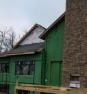 Timber frame exterior fireplace