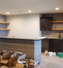 lower level bar with shelves installed