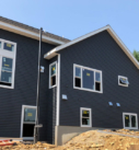 dark blue siding install
