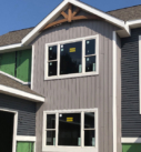 exterior blue and gray siding