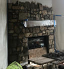 start of the stone fireplace