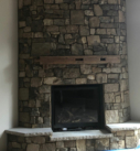 brown stone fireplace