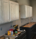 dark lower cabinets and white washed upper