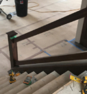 dark wood stair railing