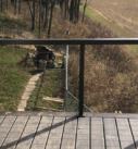 new deck handrail with metal cable tie